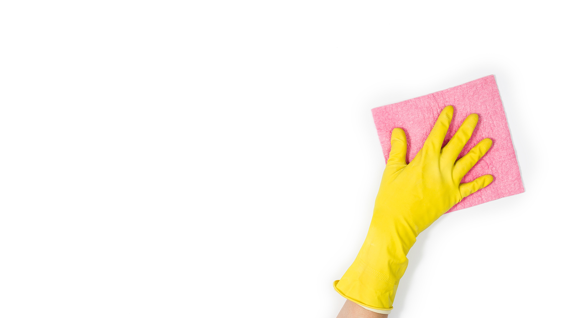 Isolated woman's hand cleaning on a white-background