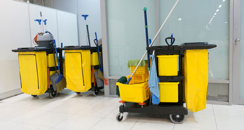 commercial cleaning equipment on the cart
