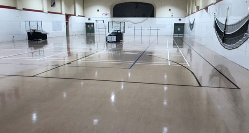 school floor maintenance of sports room